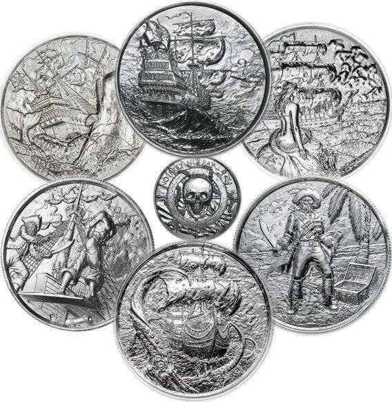 Privateer 6 Round 2 oz Silver Collection -- Storm through White Whale