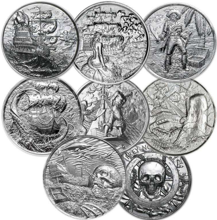 Privateer -- Complete Collection -- Set of Seven 2 oz Silver Rounds in capsules