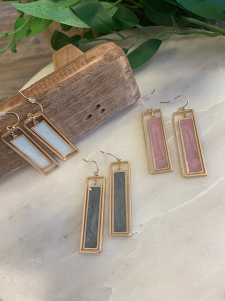 E1363 Rectangle Earring (3 Colors)