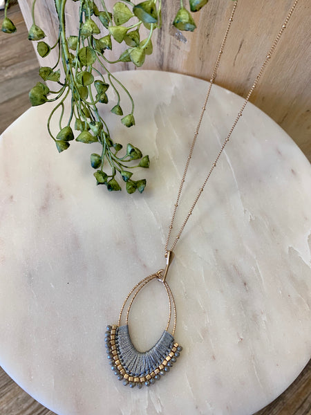 N1108 Wrapped Grey Teardrop & Crystal Necklace