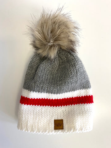 Grey Red Stripe Hat