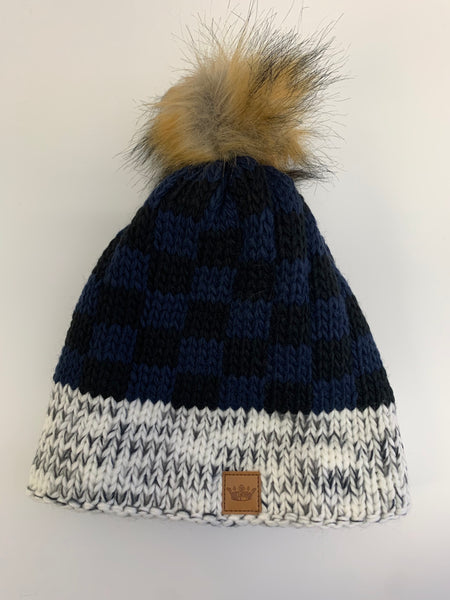 Blue Buffalo Plaid Pom Hat