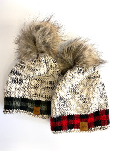 Plaid Trim Pom Hat (2 Colors)