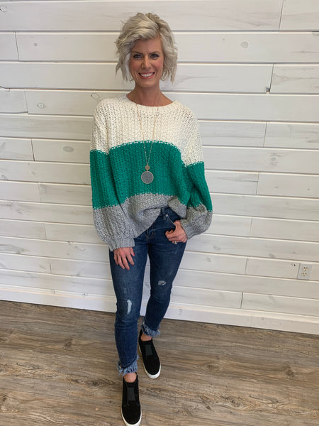 Ivory/Green Crochet Sweater