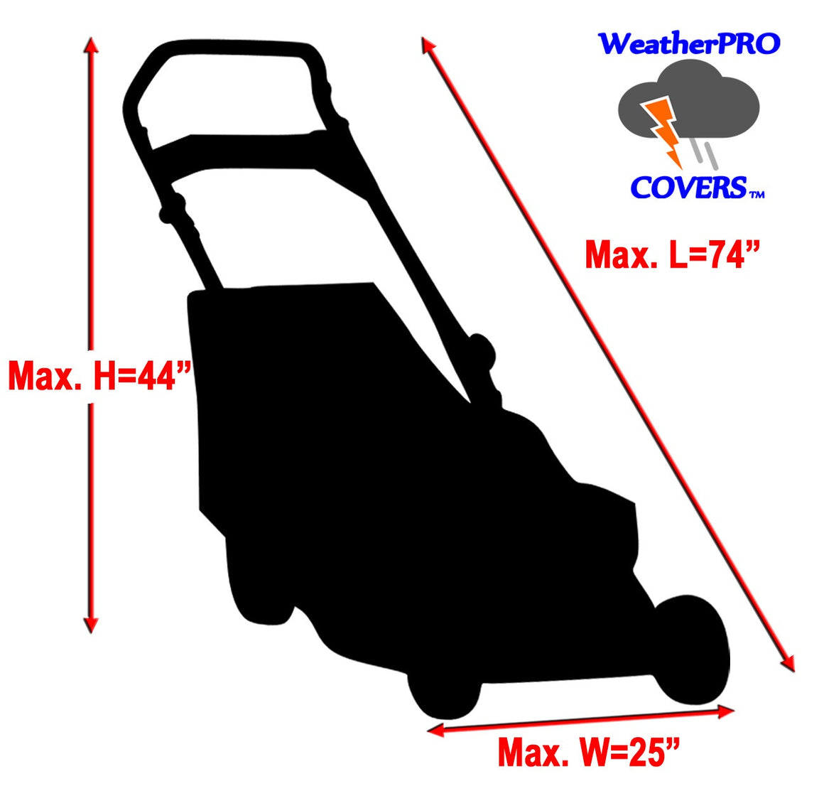 WeatherPRO Lawn Mower Cover - Black - WeatherPRO Cover,  Lawn Mower Cover - Lawn Mower Cover