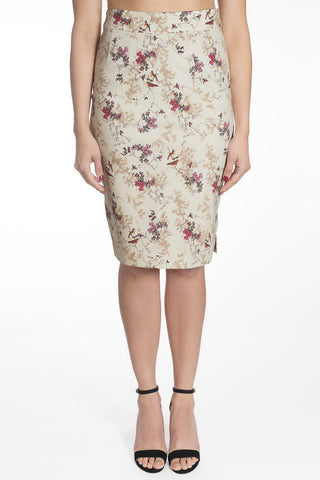 BIRD FLORAL PENCIL SKIRT | TESS