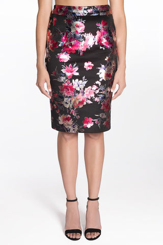METALLIC FLORAL PENCIL SKIRT | OLIVIA