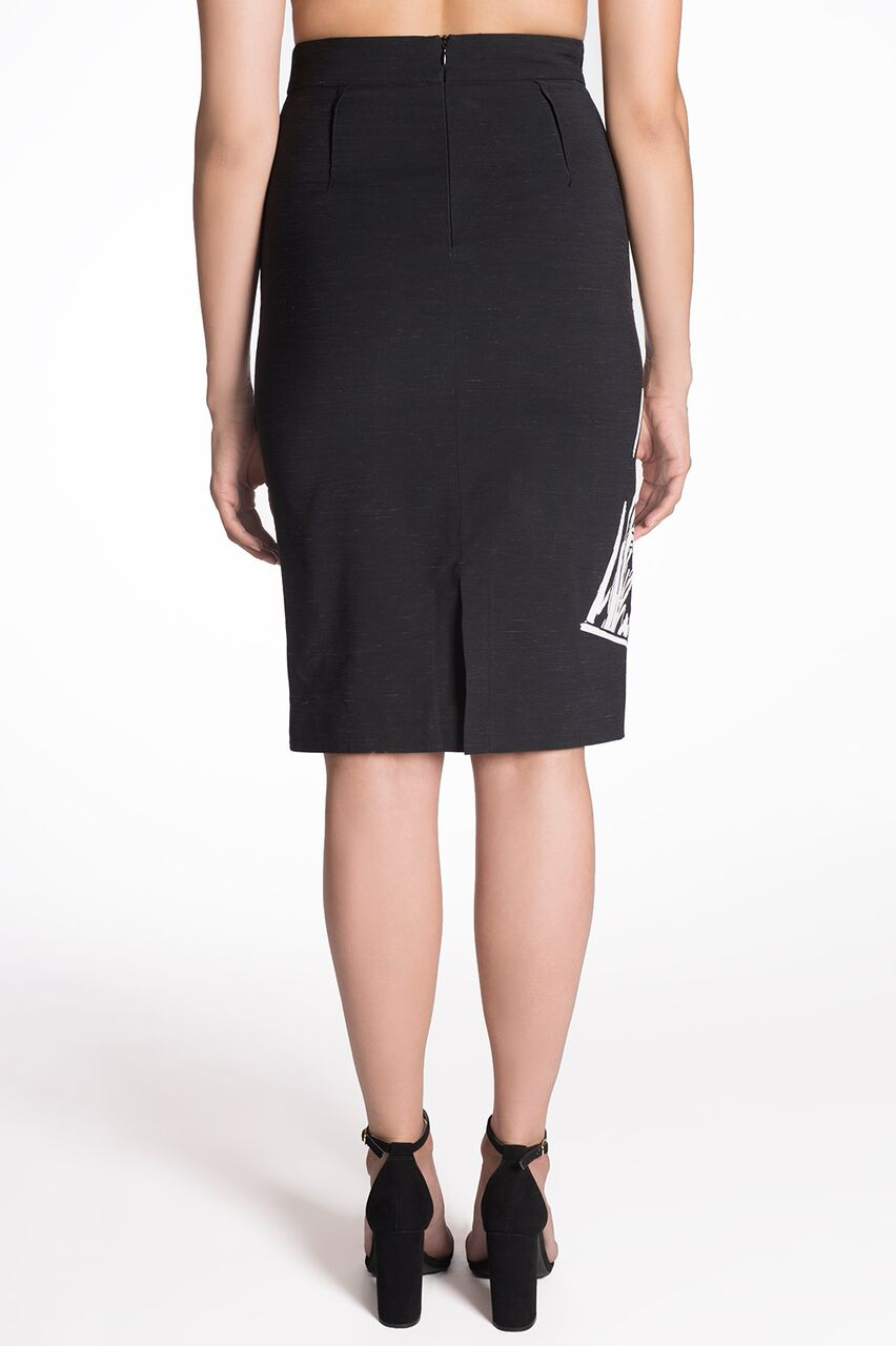GRAPHIC PRINT PENCIL SKIRT - WRITTEN WOMAN