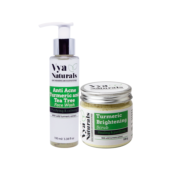 Ayurveda's Famous Skin Secret Bundle - Anti-Acne Turmeric & Tea Tree Face Wash & Turmeric Face Scrub