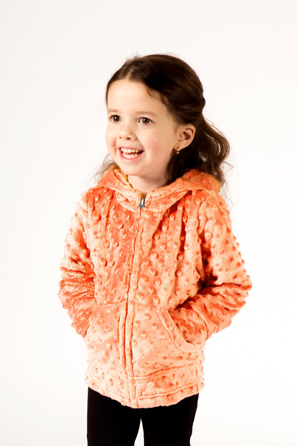 Baby Minky Dot Bubble Hoodie Legging Set - Apricot