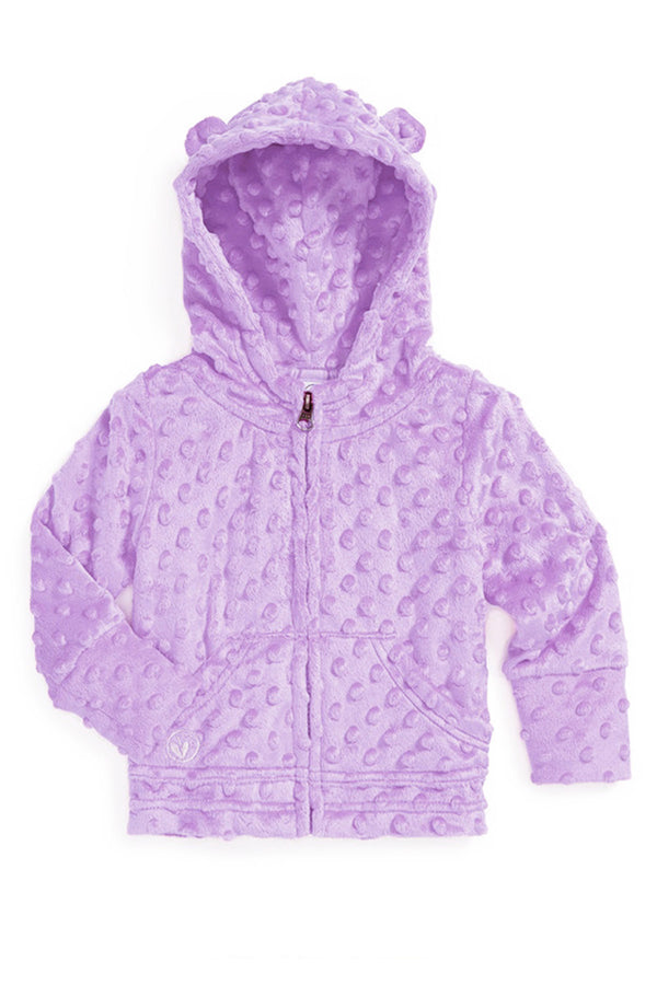 Baby Minky Dot Bubble Hoodie Legging Set - Lavender