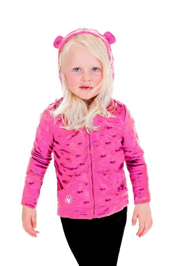 Pre Teens Swim Suit Bottom On Only Pictures: Baby Minky Hearts Hoodie - Fuchsia