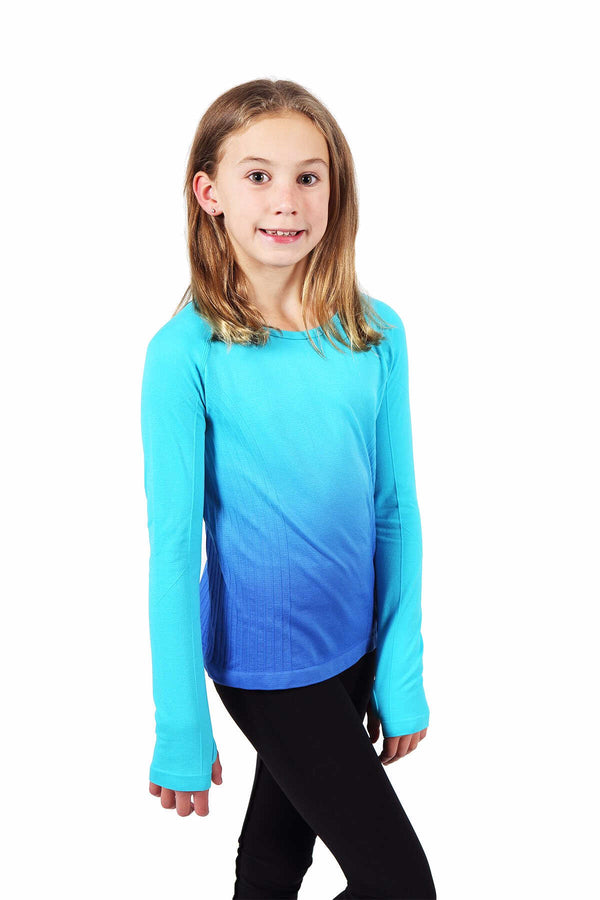 Seamless Long Sleeve Top - Turquoise / Navy
