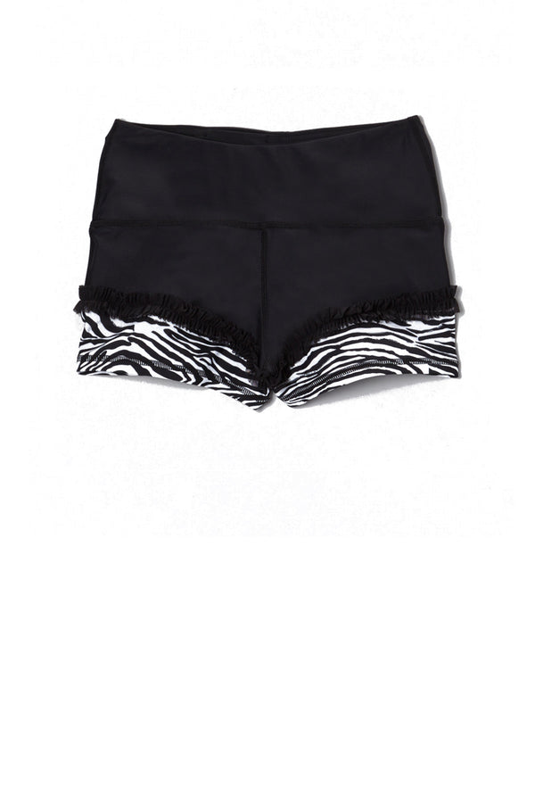 Zebra Fun Ruffle Mini Shorts