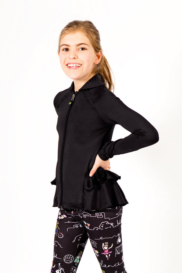Detail Ruffle Jacket - Black