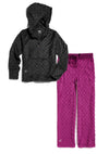 Bubble Hoodie + Pant Set - Black and Magenta