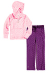 Bubble Hoodie + Pant Set - Light Pink and Dark Purple