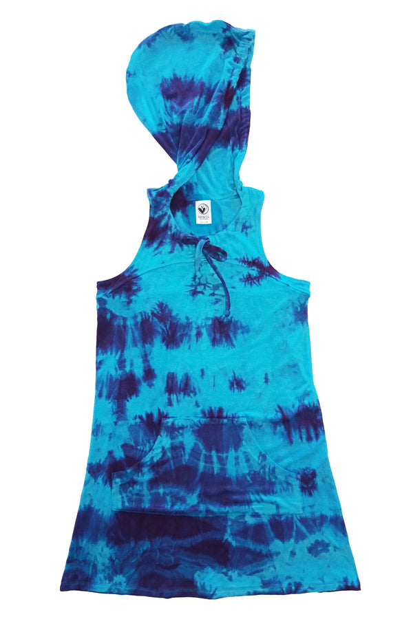Swim Cover Up - Blue Turquoise Tie Dye