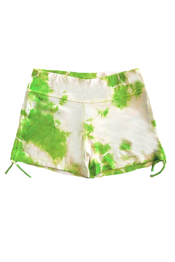 Gathered Knit Shorts Lime Tie Dye