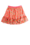 Orange Printed Ruffle Tier Skirt