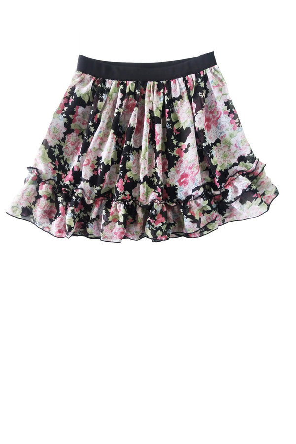 Rose Print Ruffle Skirt