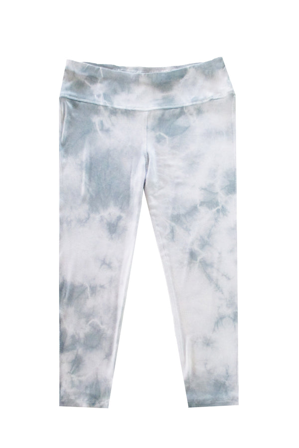 Capri Tie Dye Leggings - Light Grey