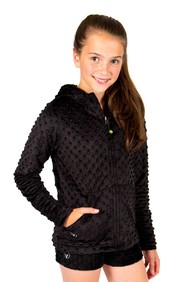 Girls Minky Bubble Hoodie - Black by Limeapple