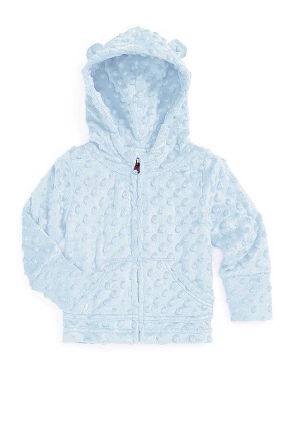 Baby Minky Dot Bubble Hoodie - Baby Blue