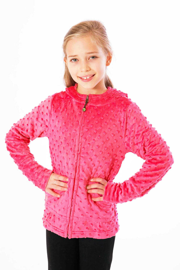 Girls Minky Bubble Hoodie - Coral by Limeapple