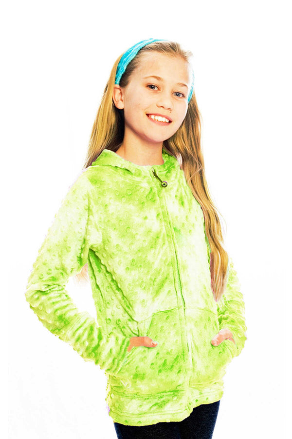 Childrens Minky Bubble Hoodie - Citrus Tie Dye by Limeapple