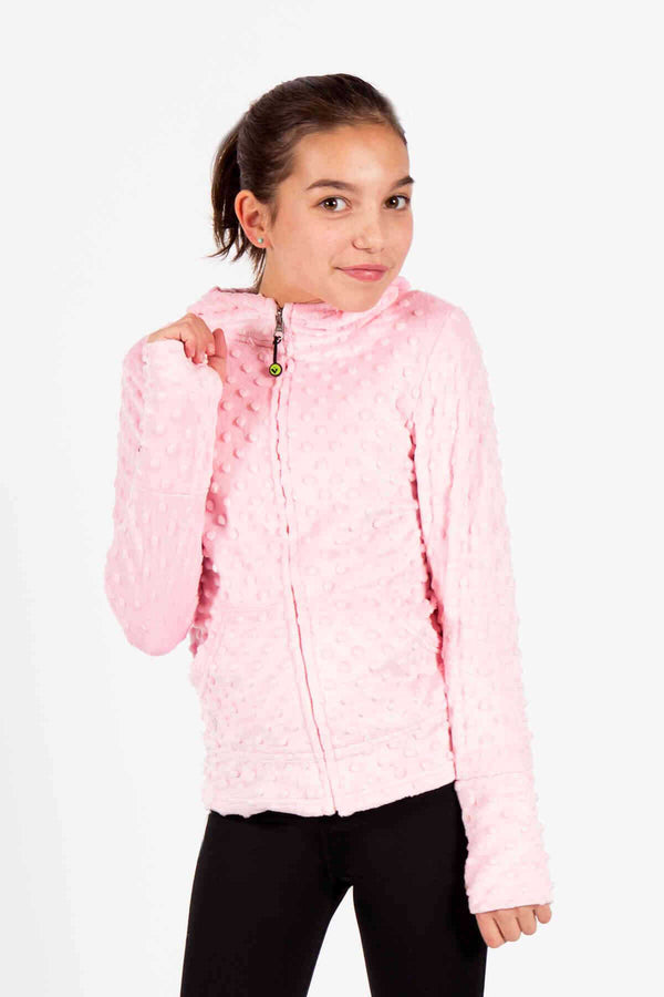 Girls Soft Minky Bubble Hoodie - Light Pink by Limeapple