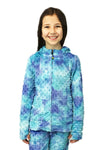 Girls Minky Bubble Hoodie -Navy Teal Tie Dye by Limeapple