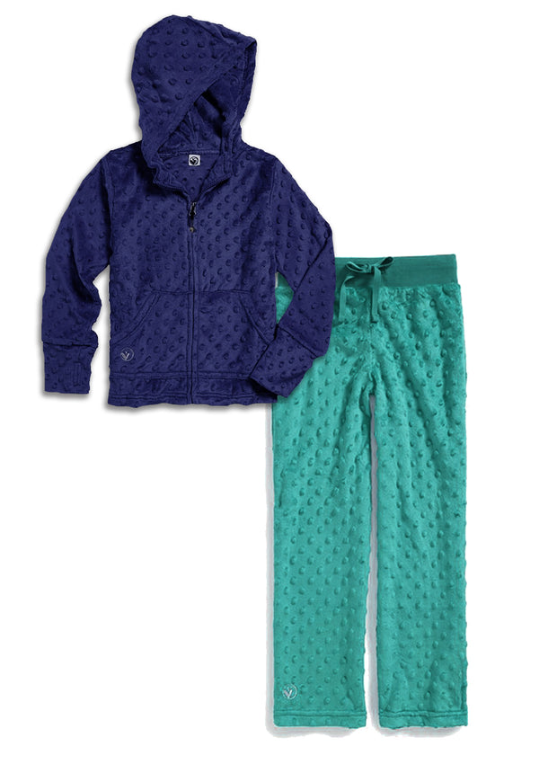 Bubble Hoodie + Pant Set - Navy and Teal