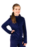 Girls Minky Bubble Hoodie - Navy by Limeapple