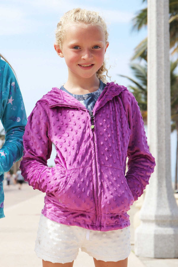 Girls Soft Minky Bubble Hoodie - Orchid by Limeapple