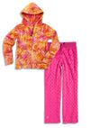 Bubble Hoodie + Pant Set - Pink Orange Tie Dye and Fuchsia