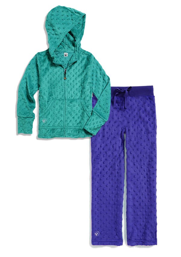 Bubble Hoodie + Pant Set - Teal and Cobalt