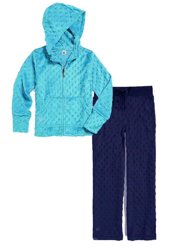 Bubble Hoodie + Pant Set - Turquoise and Navy