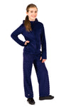 Girls Soft Minky Bubble Hoodie + Pant Set - Navy by Limeapple