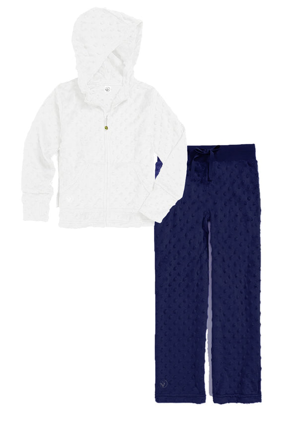 Bubble Hoodie + Pant Set - White and Navy