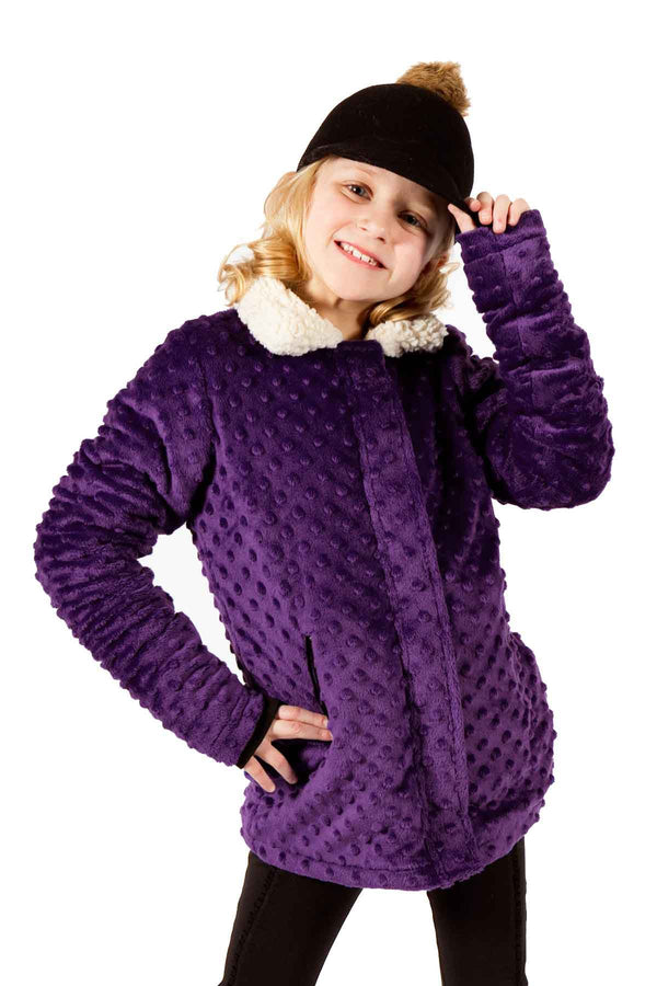 Minky Bubble Reversible Jacket - Dark Purple