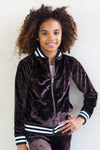 Luxe Crushed Velvet Varsity Jacket - Black