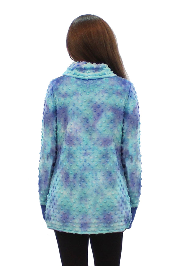 Minky Bubble Wrap Jacket - Navy Teal Tie Dye