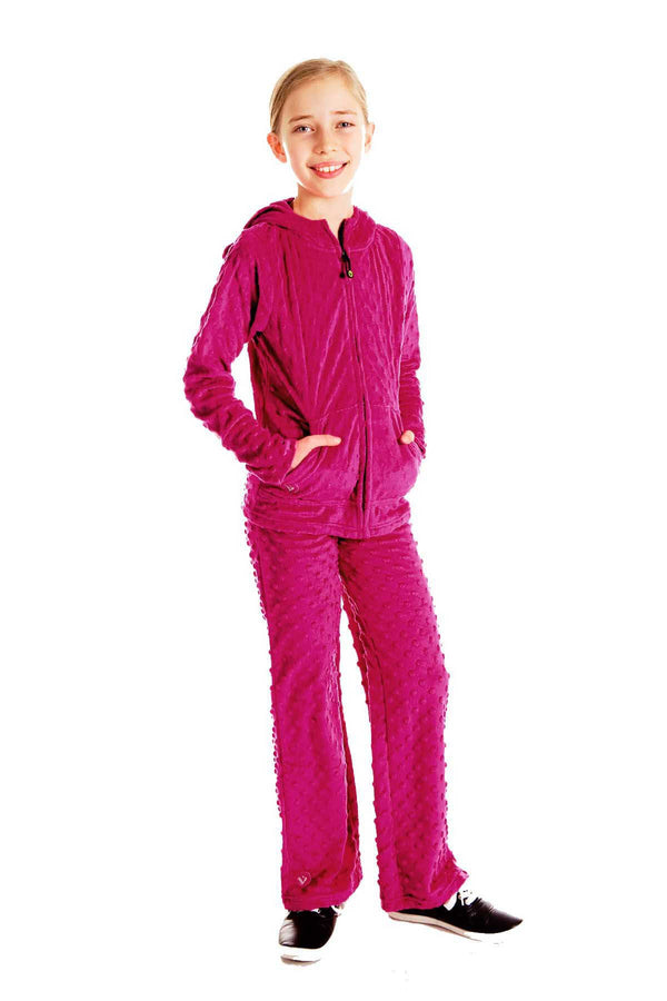Girls Minky Bubble Pant - Magenta by Limeapple