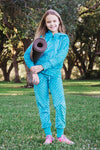 Girls Luxe Minky Slim Leg Jogger - Turquoise by Limeapple
