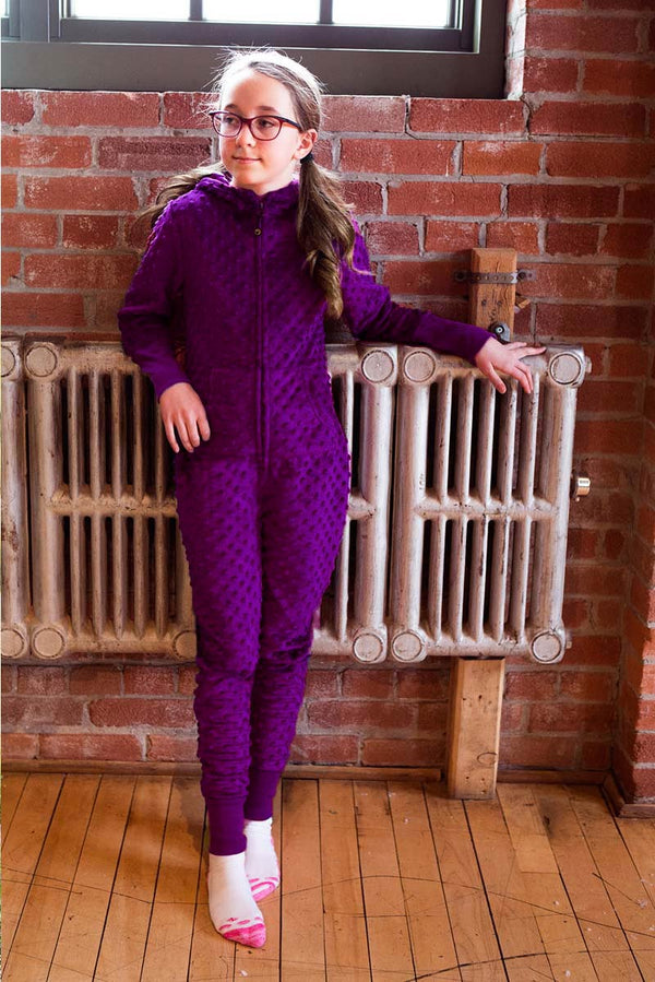 Girls highly-coveted Luxe Minky Bubble Onesie- Dark Purple by Limeapple