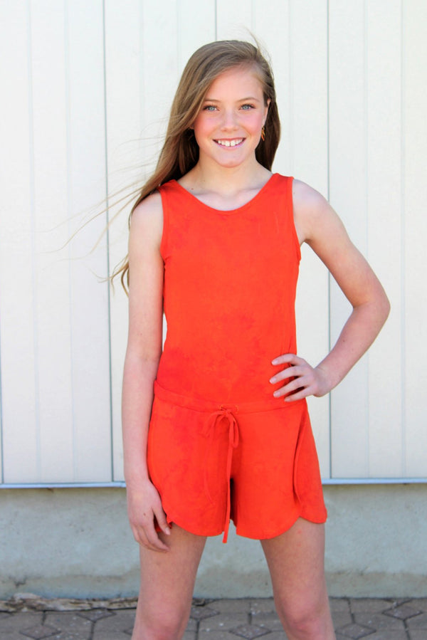 Aleka Romper - Bold Orange Tie-Dye