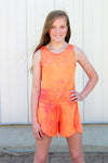Aleka Romper - Orange Tie-Dye