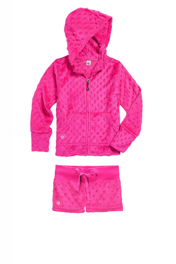 Bubble Hoodie + Shorts Set - Fuchsia