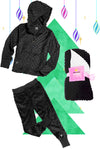 Bubble Hoodie , Jogger and Blanket Set - Black